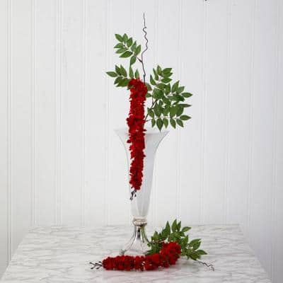 28 in. Red Wisteria Artificial Flower (Set of 8)