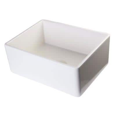 Smooth Farmhouse Apron Fireclay 26 in. Single Basin Kitchen Sink in Biscuit