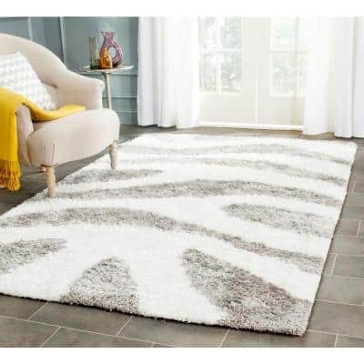 Barcelona Shag Ivory/Silver 9 ft. x 12 ft. Area Rug