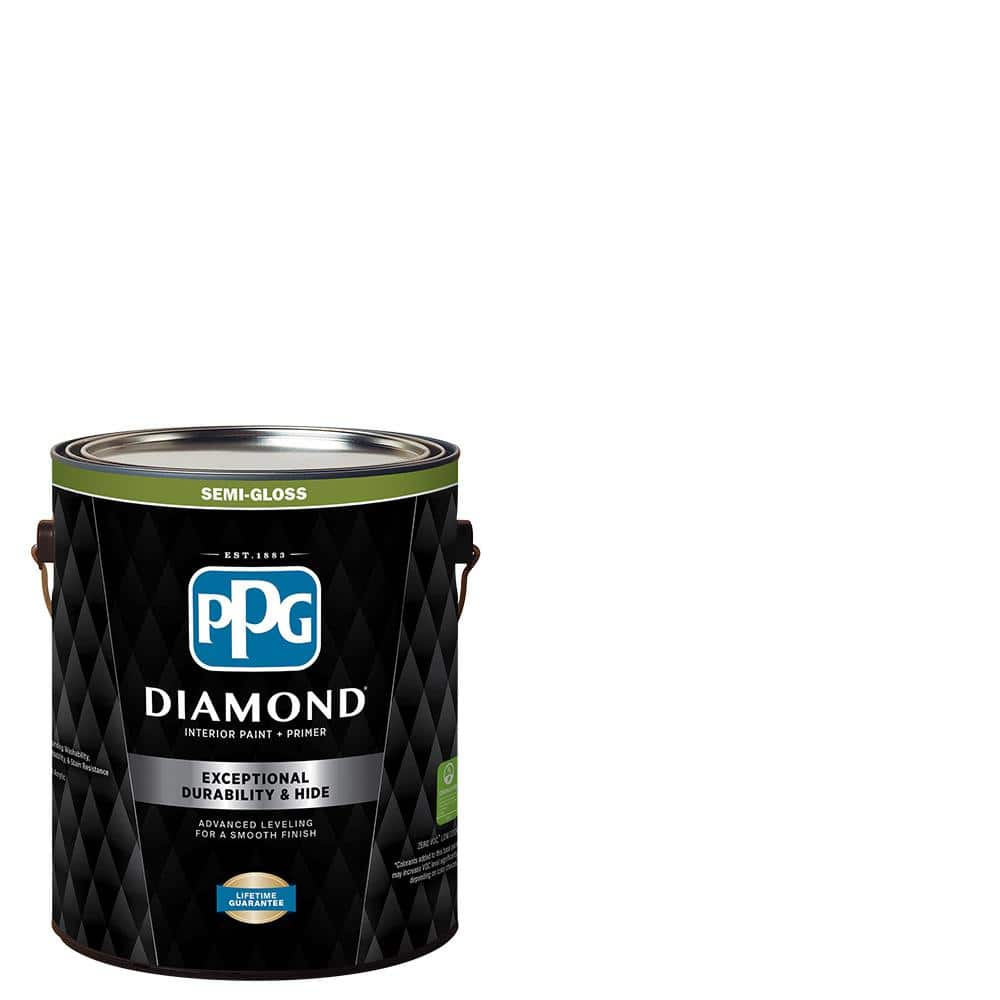 Ppg Diamond 1 Gal Pure White Semi Gloss Interior Paint And Primer Ppg53 510 01 The Home Depot