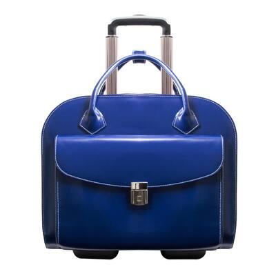 Mcklein Granville 15 in. Navy Top Grain Cowhide Leather Wheeled Ladies Laptop Briefcase