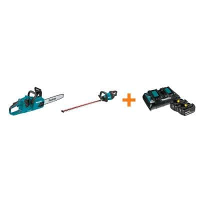 18V X2 LXT Brushless Electric 14 in. Chain Saw and 18V LXT Hedge Trimmer with bonus 18V LXT Starter Pack