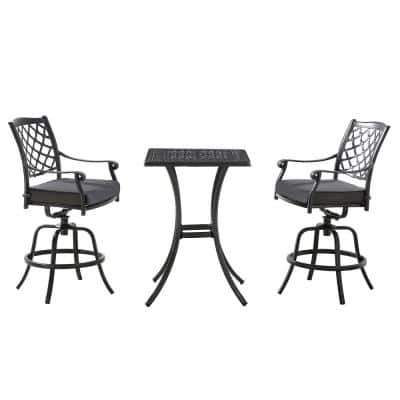 Franklin 3-Piece Aluminum Outdoor Bistro Set with Dark Charcoal Cushions