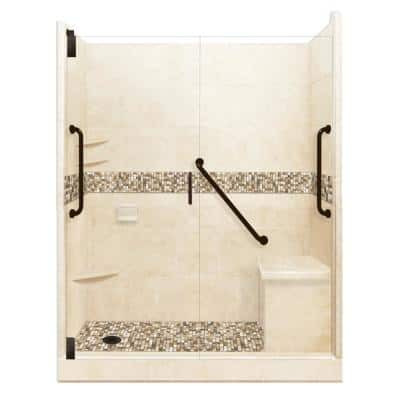 Roma Freedom Grand Hinged 30 in. x 60 in. x 80 in. Left Drain Alcove Shower Kit in Desert Sand and Old Bronze Hardware