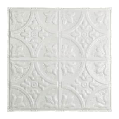 Jamestown 2 ft. x 2 ft. Nail Up Metal Ceiling Tile in Matte White (Case of 5)