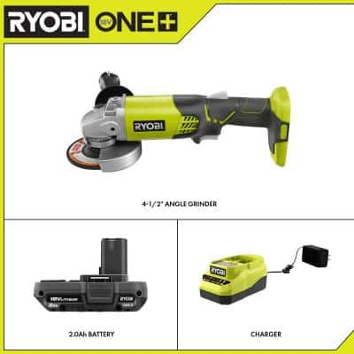 ONE+ 18V Cordless 4-1/2 in. Angle Grinder with 2.0 Ah Battery and Charger