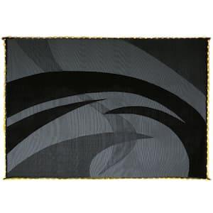 Swirl Pattern LED Illuminated Black/White Patio/RV Reversible Floor Mat- 8' x 11'