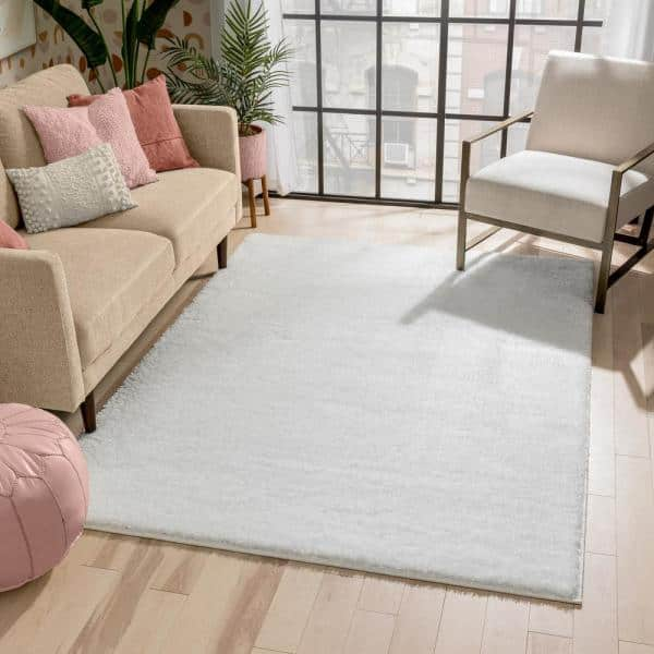 Well Woven Rainbow Chroma Glam Solid Ivory 7 Ft 10 In X 9 Ft 10 In Multi Textured Shimmer Pile Shag Area Rug Ra 12 7 The Home Depot