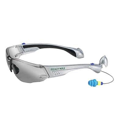 Construction Safety Glasses Silver Frame Grey Lens with NRR 25 db Silicone PermaPlugs