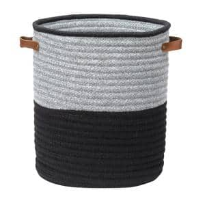 Casa Mesa Black 16 in. x 16 in. x 20 in. Round Blended Wool Basket