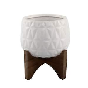 5 in. Matte White Kaleid Ceramic on Wood Stand Mid-Century Planter