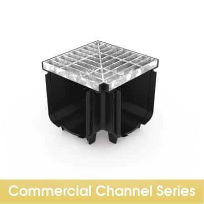Pro Series Channel Drain Corner with Class B Steel Grate
