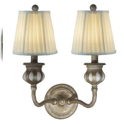 Evita 15 in. Antique Golden Silver Wall Sconce