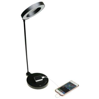 """AirEnergy 20 in. LED Touch Dimmer Black Desk Lamp with Qi Certified Wireless Charging Base & """"SmartCube"""" Qi Adapter"""