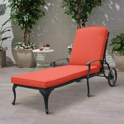 Antique Bronze Aluminum Reclining Outdoor Chaise Lounge with Wheels and Red Cushions