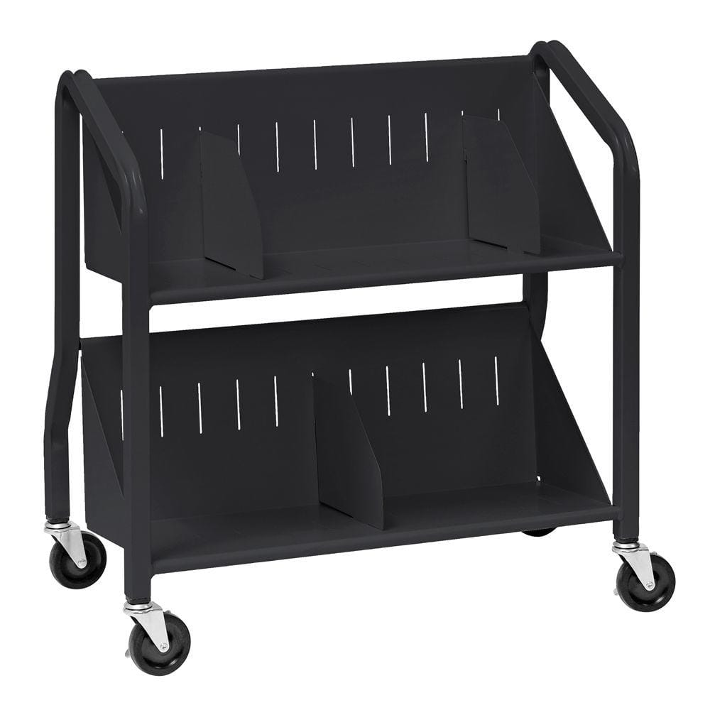 Buddy Products Sloped Black 2 Shelf Book Cart With Dividers 5413 4 The Home Depot