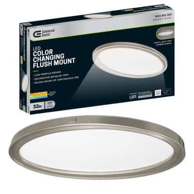 32 in. Low Profile Oval Brushed Nickel Color Selectable LED Flush Mount Ceiling Light w/ Night Light Feature