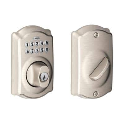 Camelot Satin Nickel Keypad Electronic Door Lock Deadbolt