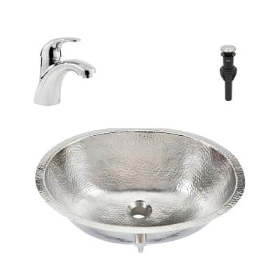 Pavlov All-in-One 19.25 in. Undermount Bathroom Sink with Pfister Parisa Faucet in Hammered Nickel