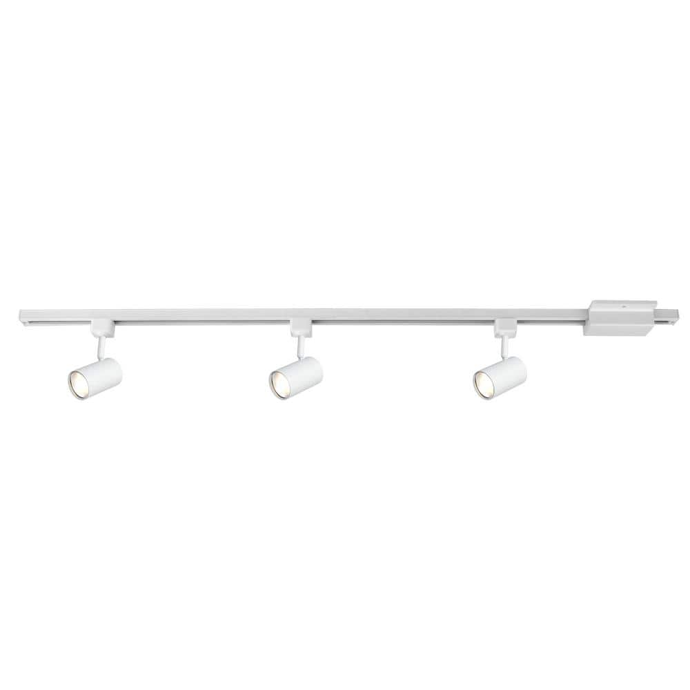 Hampton Bay 4 Ft 3 Light White Led Linear Track Lighting Kit With Mini Cylinder Step Heads 805029 The Home Depot
