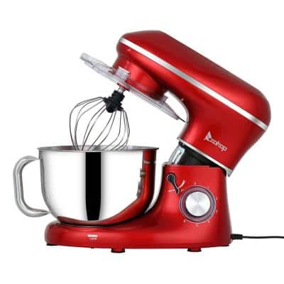 5.6 qt. 6-Speed Tilt-head Red Stainless Steel Stand Mixer with Dough Hook, Whisk and beater