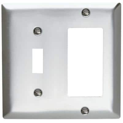 Pass & Seymour 430S/S 2 Gang 1 Toggle 1 Decorator/Rocker Wall Plate, Stainless Steel (1-Pack)
