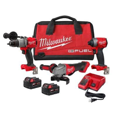 M18 FUEL 18-Volt Lithium-Ion Brushless Cordless Hammer Drill/Impact Driver/Grinder Combo Kit (3-Tool)