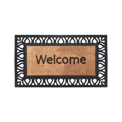 A1HC Paisley Border Welcome Design Black/Beige 18 in. x 30 in. Rubber and Coir Door Mat