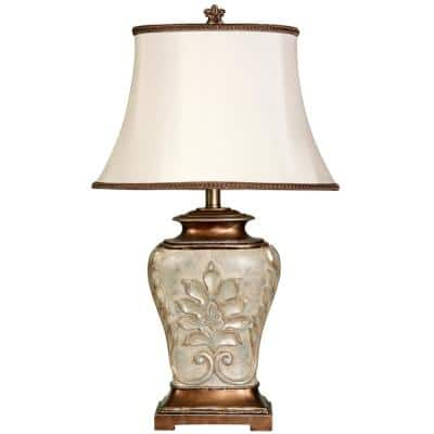 28 in. Antique White With Gold Accents Table Lamp with White Fabric Shade