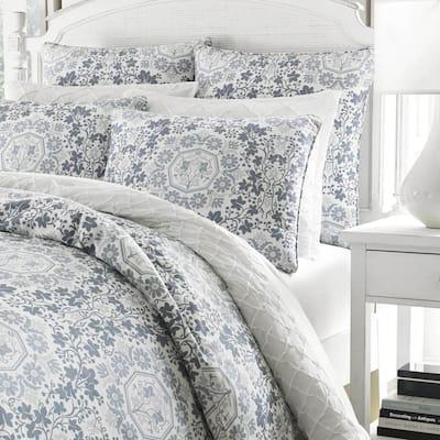 Caldecott Pastel Blue Floral Cotton Comforter Set