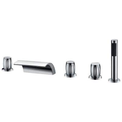 Della 3-Handle Deck-Mount Roman Tub Faucet in Polished Chrome