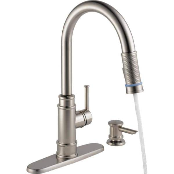 Delta Allentown Single Handle Pull Down Sprayer Kitchen Faucet With Tempsense Indicator And Soap In Spotshield Stainless 19935l Spsd Dst The Home Depot