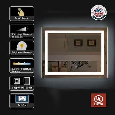 36 in. W x 28 in. H Large Rectangular Frameless Anti-Fog LED Light Dimmable Bathroom Vanity Mirror in Silver