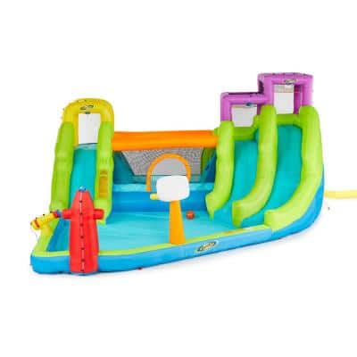 RipTide Triple Fun Inflatable PVC Water Park with 3-Slides and Obstacle Course