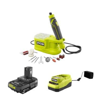 RYOBI ONE+ 18V Cordless Precision Rotary Tool w/ 2.0 Ah Battery and Charger