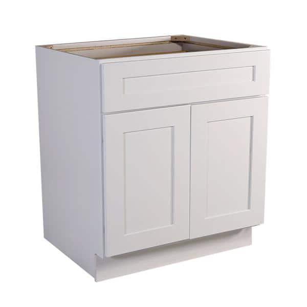 Design House Brookings Plywood Ready To Assemble Shaker 30x34 5x24 In 2 Door 1 Drawer Base Kitchen Cabinet In White 561381 The Home Depot