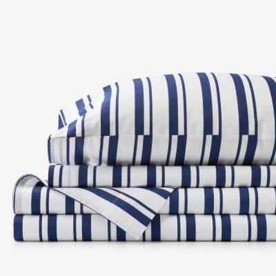 Company Kids Stripe 4-Piece Blue Striped 200-Thread Count Organic Cotton Percale Queen Sheet Set