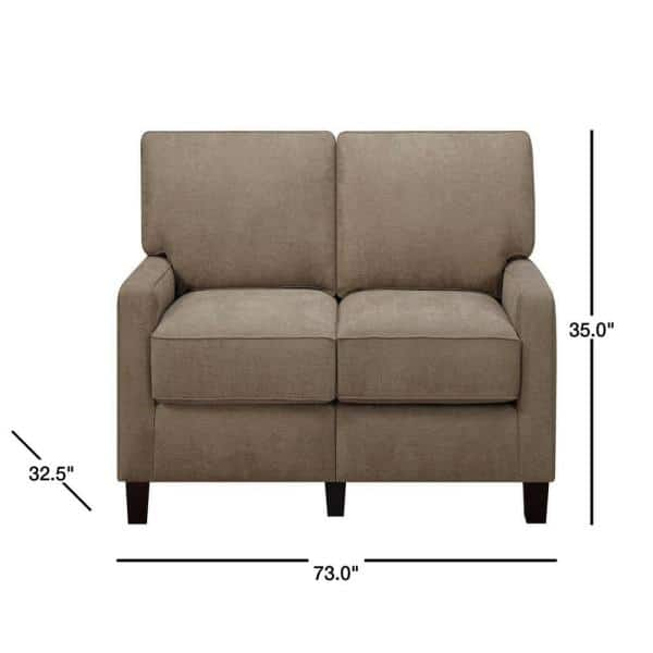 Brown Polyester 2 Seater Sofa, Sofa Cushion Support Home Depot