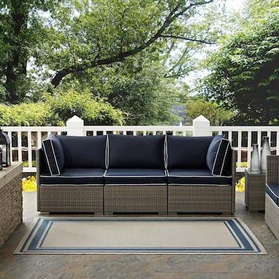 Rim in Blue and Beige 9 ft. x 12 ft. Solid Border Indoor/Outdoor Area Rug