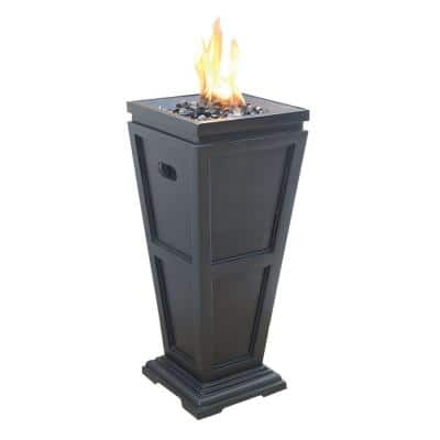 11.8 in. W x 11.8 in. D LP Gas Fire Pit with Match Light Ignition and Black Fire Glass