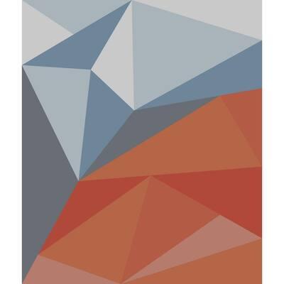 Geometric Blue Red - 68 in. x 80 in. Tapestry