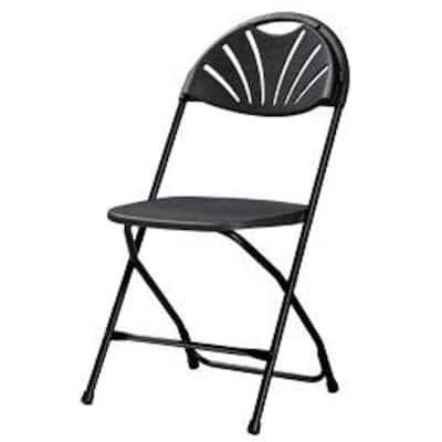 Heavy-Duty Black Fan Back Plastic Outdoor Safe Folding Chair (Set of 8)