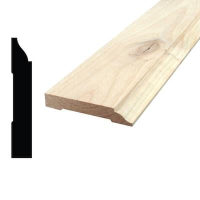 9/16 in. x 3-1/4 in. x 96 in. Knotty Alder Wood Baseboard Moulding
