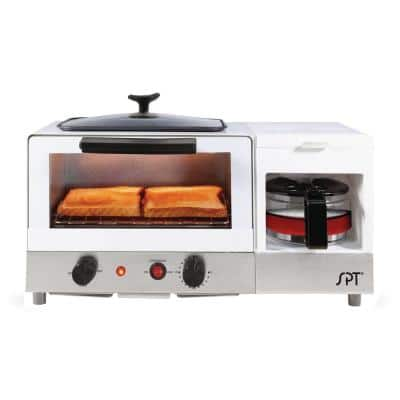 Breakfast Center 1450 W 2-Slice White and Stainless Steel Toaster Oven with Griddle and Coffee Maker