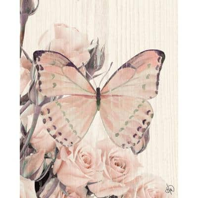 """20 in. x 24 in. """"Butterfly and Roses Tea Party"""" Metal Wall Art Print"""