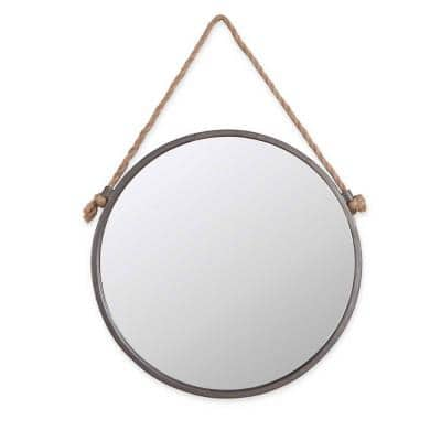 15 x15 Round Rustic Metal Frame Wall Mirror with Hanging Rope