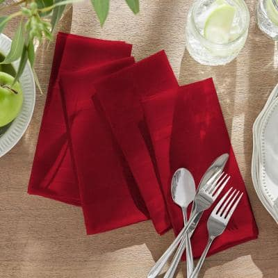 17 in. W x 17 in. L Elegance Plaid Damask Poinsettia Red Fabric Napkins (Set of 4)