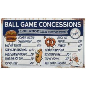 Los Angeles Dodgers Ball Game Concessions Metal Sign