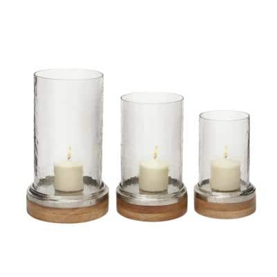 Clear Glass Traditional Candle Hurricane Lamp (Set of 3)
