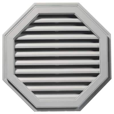 32 in. x 32 in. Octagon Gray Plastic Weather Resistant Gable Louver Vent